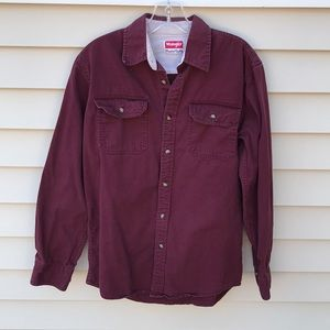 Wrangler Maroon Casual Button Down Work Shirt S